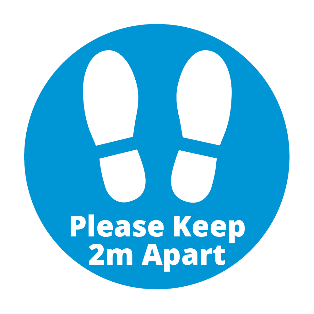 Covid 19 Please Keep 2m Apart Floor Sticker from Ponteland Print