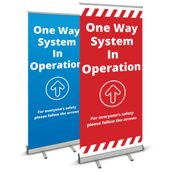 Covid 19 One Way System Pull Up Banner from Ponteland Print