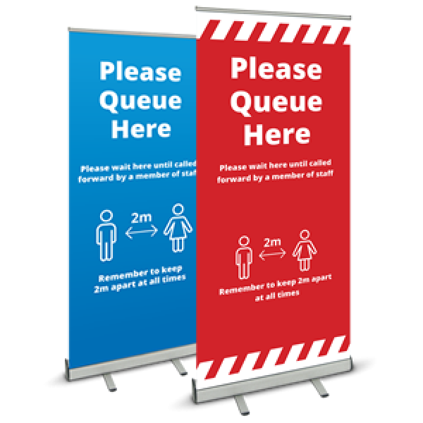 Covid 19 Please Queue Here Pull Up Banner from Ponteland Print