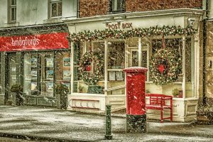 Snow Flurries at The Post Box Ponteland -2529 Ponteland Print
