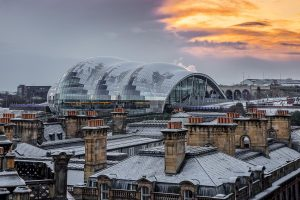 A break in the snow clouds over The Sage Gateshead-3254 Ponteland Print