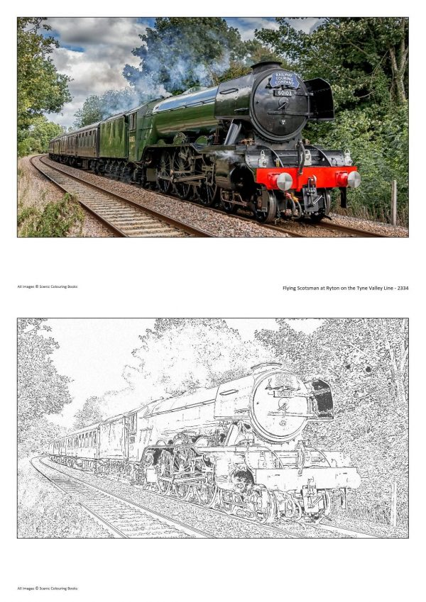 Colouring Books Flying Scotsman at Ryton on the Tyne Valley Line - 2334