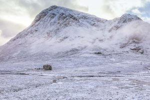 Lagangarbh Hut under Buchaille Etive Mor-2755 Christmas Card Ponteland Print & Publishing