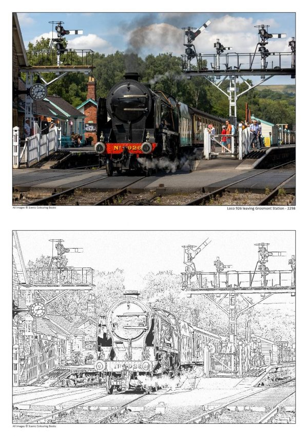 Colouring Books Loco 926 leaving Grosmont Station - 2298