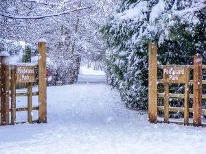 Ponteland Park Gates in the Snow-DSCF2254 Xmas Card Ponteland Print