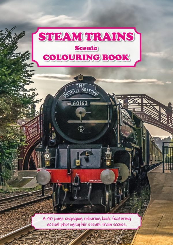 Steam Trains Colouring Book Cover | Ponteland Print & Publishing