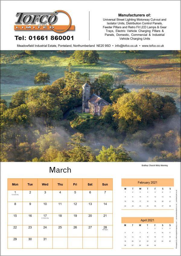 Tofco Calendar 2021 Inside Page | Ponteland Print & Publishing