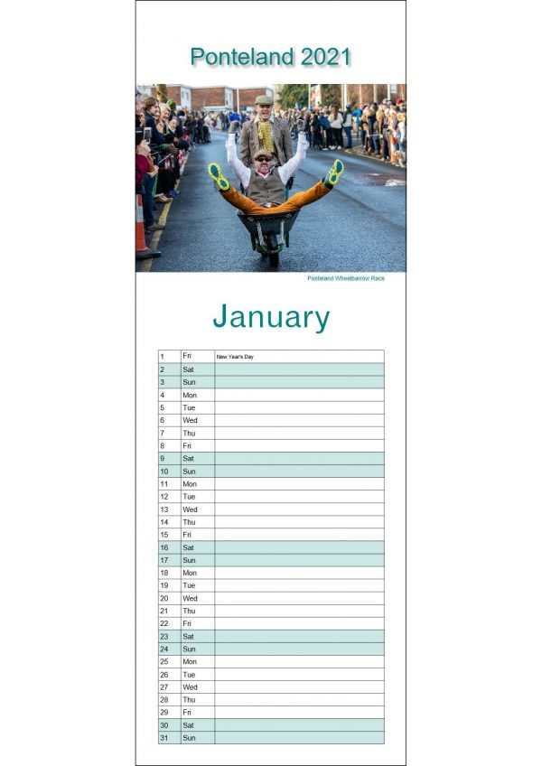 Ponteland Calendar January Page | Ponteland Print & Publishing