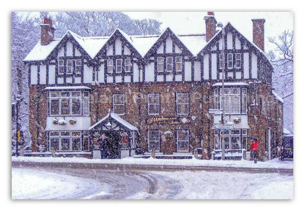 Diamond Inn Ponteland Winter Scene-2263W | Ponteland Print & Publishing