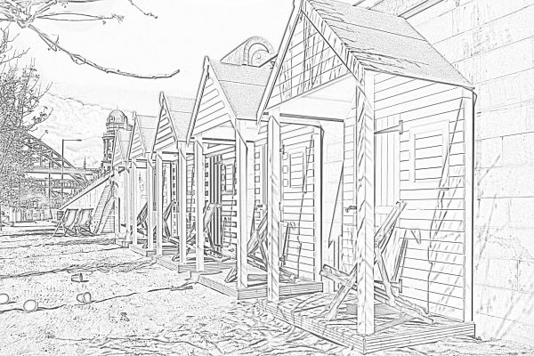 Newcastle Quayside Pop up Beach Huts Colouring Sheet