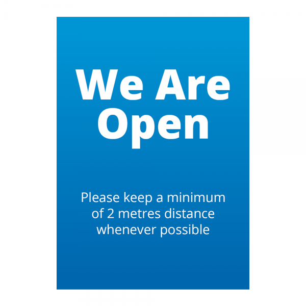 Covid 19 We Are Open Sign from Ponteland Print